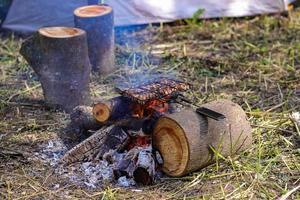 camping, grilla kött ute foto