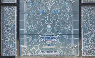 detalj av dekorativt fönster vid Unteres Curtihaus i Rapperswil, Schweiz foto