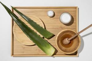 aloe vera med honung och vit hud foto