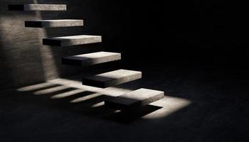 grå cement flytande trappor i mörkt rum med ljus som kommer in från ovan, 3d-rendering foto