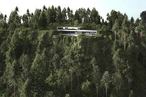 modernt hus på ett grönskande berg foto