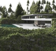 modernt hus med en pool i en skog foto