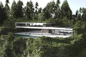 modernt hus på en kulle med pool foto