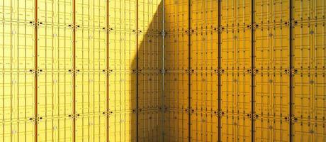 gult lastbilcontainermönster, tolkning 3d foto