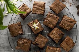 choklad brownies, hemlagad dessert foto