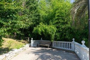 tegel trottoar, staket och träd i parken av södra kulturer i sochi, ryssland foto