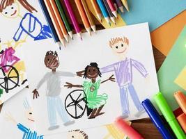 ritning funktionshindrade barn vän foto