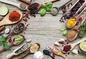 ram med kryddor på ett träbord i skedar foto