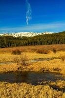 snötäckta berg och vatten foto