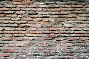 mönster textur av gamla vintage orange tegelvägg, detaljerad bakgrund närbild foto