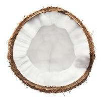 hälften av mogen hårig kokosnöt isolerad på vit bakgrund foto