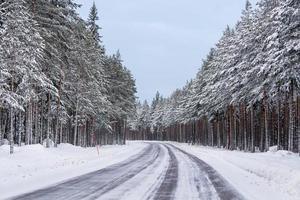 väg i ett vinterlandskap foto
