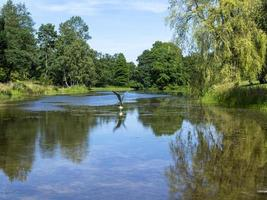 sjö i Yorkshire Arboretum, North Yorkshire, England foto