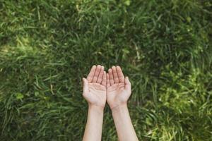 ekokoncept med händer över grönt gräs foto