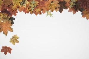 höstlöv faller från sidoramen foto