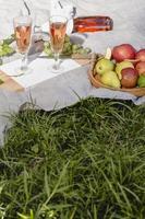 sammansättning av läckra picknickgodisar på en filt foto