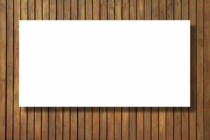 tomt pappersstruktur på vintage brun trä bakgrund foto