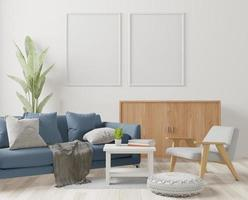 vardagsrum, minimal stil, 3d-rendering foto