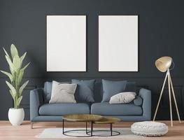 modernt stort vardagsrum, 3d-rendering foto