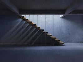 Bild för tolkning 3d av trappa med skugga på väggen foto