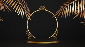 piedestal isolerad på svart bakgrund med guld ram foto