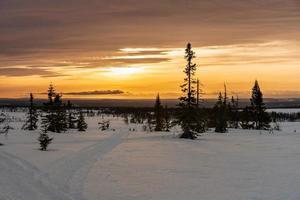 solnedgång över ett snöigt landskap foto