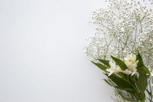 ovanifrån barnets andetag och vita liljor på vit bakgrund foto