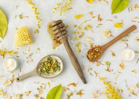 hälsovård ingredienser arrangemang ovanifrån foto