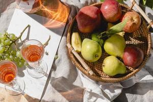 korg med frukt på picknickfilt foto