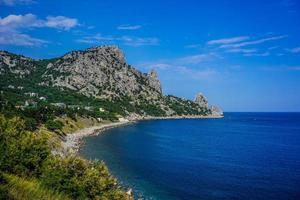 sten täckt med grön vegetation som hänger över det lugna blå havet foto