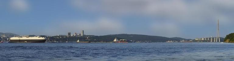 panorama över havslandskapet. Vladivostok, Ryssland foto