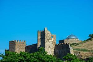 fragment av den genuiska fästningen i Sudak foto