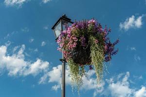 vackert blomsterarrangemang hängande från en lyktstolpe foto