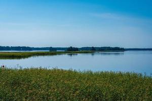 solig sommarsikt korsar en sjö i sverige foto