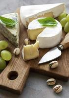 olika typer av ost och snacks foto