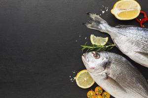 ovanifrån fisk ram med kopia utrymme foto