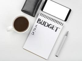 anteckningsbok budget beräkning foto