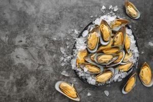 råa ostron på is foto