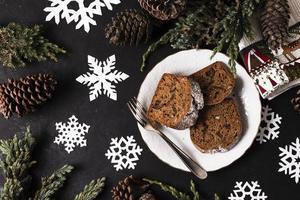 ovanifrån läcker tårta för julfest foto