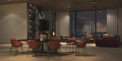 lyxigt öppet vardagsrum och matsal foto