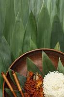 platt låg utsökt indonesisk bakso-komposition foto