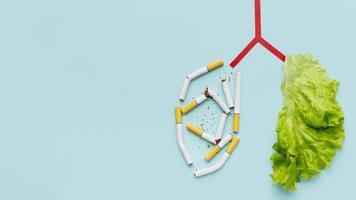 lungor form med sallad cigaretter kopiera utrymme. vackert fotokoncept med hög kvalitet och upplösning foto