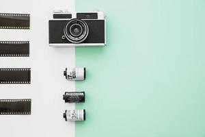 fin kamera nära film. vackert fotokoncept med hög kvalitet och upplösning foto