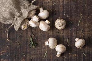 ovanifrån färska svamp arrangemang. vackert fotokoncept med hög kvalitet och upplösning foto