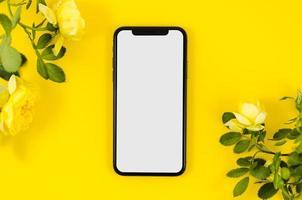ovanifrån smartphone mall arbetsyta. vackert fotokoncept med hög kvalitet och upplösning foto