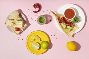 platt lågsortiment av tamalesingredienser foto