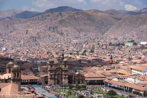 Cuzco Peru stadspanorama med torget Plaza de Armas foto