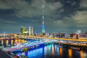 stadsbilden i Tokyo skyline, panoramautsikt över kontorsbyggnaden vid Sumida River i Tokyo. foto