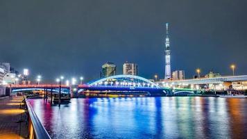 stadsbilden i Tokyo skyline, panoramautsikt över kontorsbyggnaden vid Sumida River i Tokyo på kvällen. foto