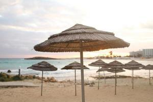 vackra halmparaplyer på stranden foto